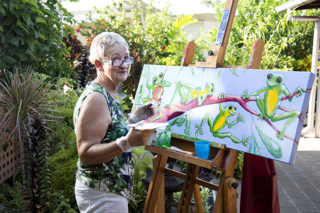 Greenfields resident painting in her yard